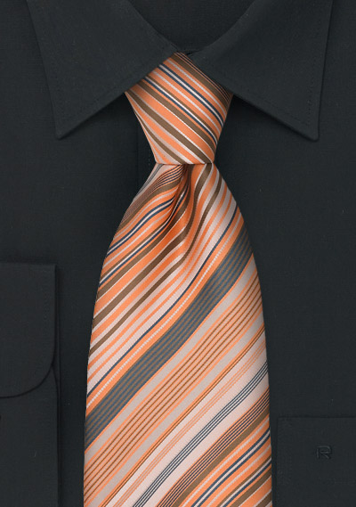 Modern Striped Tie in Coral, Orange, and Gray