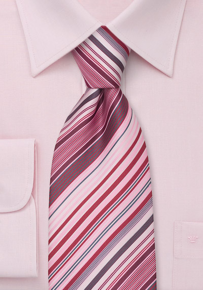 982ae40a9745 Modern Striped Necktie in Pink, Rose, Gray, and White | Bows-N-Ties ...