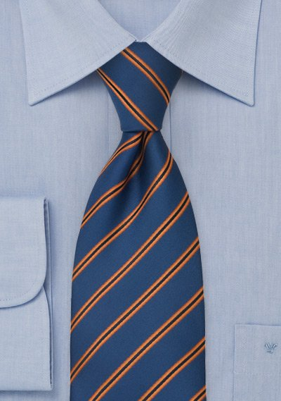 0024e716b61a Royal Blue Mens Tie With Pumpkin-Orange Stripes | Bows-N-Ties.com