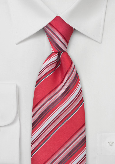 Striped Boys Length Tie in Red, Gray, White
