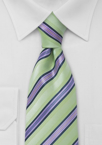 Lime Green and Lavender Purple Tie