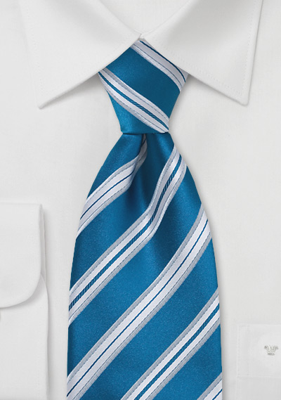 Extra Long Striped Tie in Bright Blue