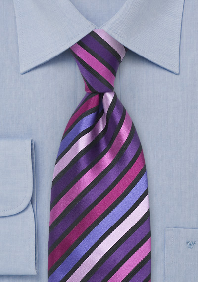 Designer Striped Tie Pink And Purple
