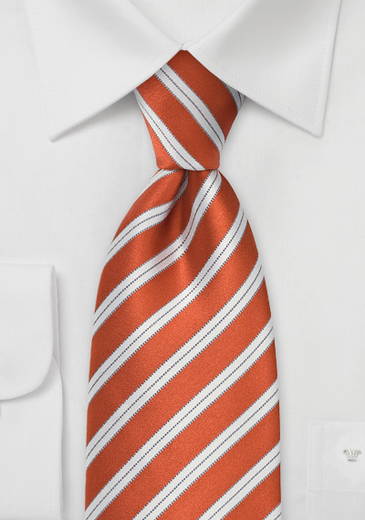 Orange Striped Tie in Boys Length