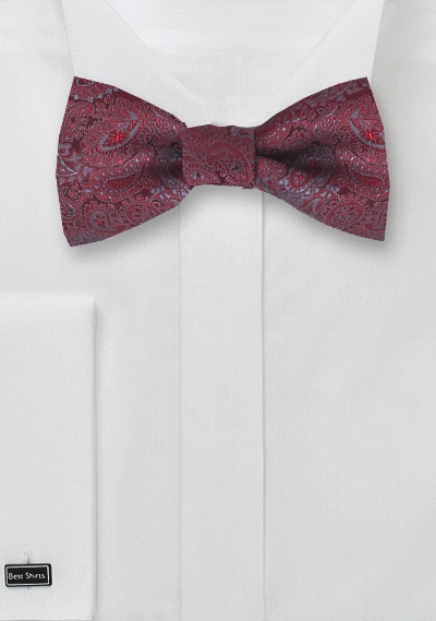 Red Self Tie Bow Tie with Gray Paisley Design