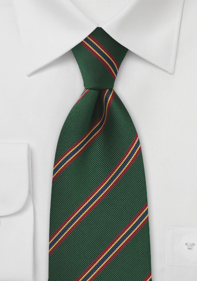 British Regimental tie in Dark Green with Red, Gold, and Blue Stripes