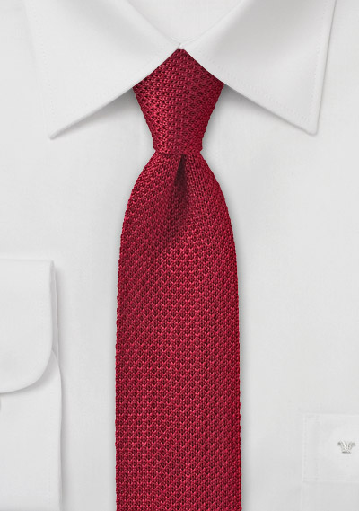Apple Red Knitted Silk Tie