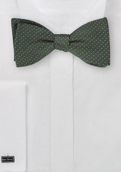 Self-Tie Bow Tie in Hunter Green with Yellow Pin Dots