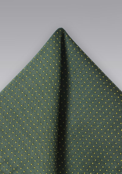 Classis Silk Pocket Square in Green with Yellow Dots