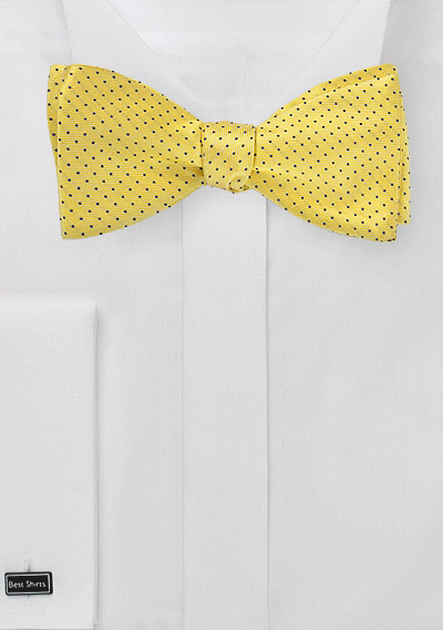 Sun Yeldlow Pin Dot Bow Tie