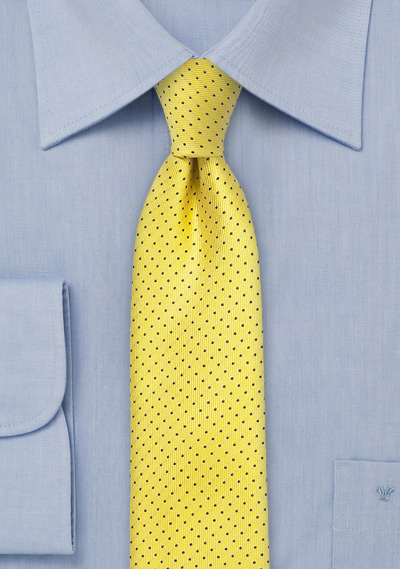 Skinny Pin Dot Tie in Sun Yellow and Dark Navy