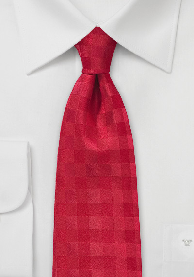 Solid Red Tie with Gingham Checks