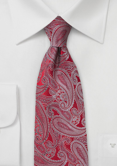 Designer Silk Tie in Red with Silver Paisleys