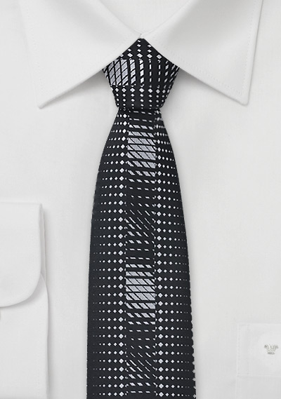 Geometric Skinny Tie in Black and Silver
