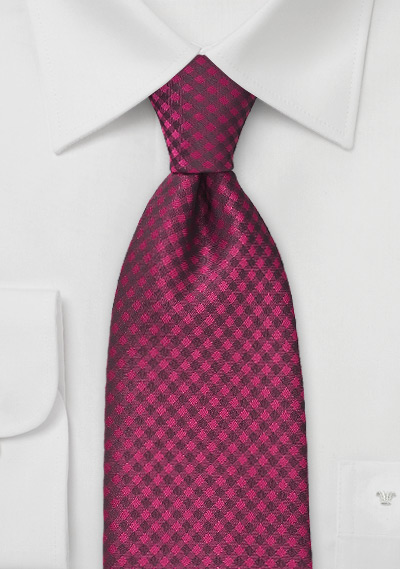 Raspberry Pink Gingham Tie