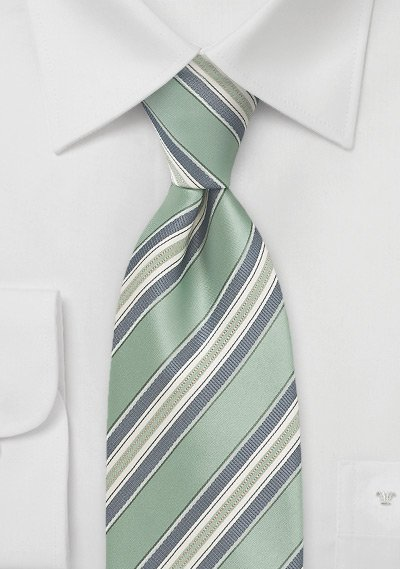 Striped XL Length Tie in Sage and Silver
