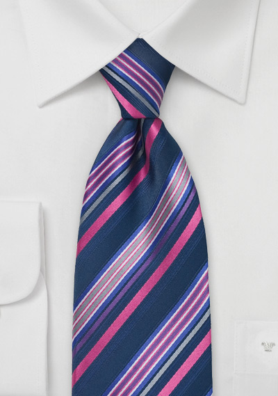 Dark Navy and Bright Dahlia Tie