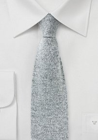 Gray Knit Tie in Pure Cashmere