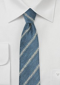 Vintage Striped Linen Tie in Denim Blue
