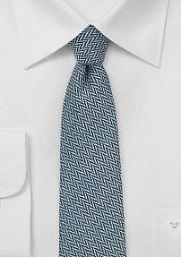 Trendy Skinny Tie with Herringbone weave in Denim Color