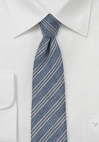 Denim Color Autumn Tie with Trendy Stripes