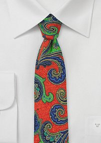 Bright and Bold Italian Wool Paisley Tie