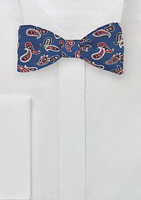 Wool Paisley Print Bow Tie in Blue and Red