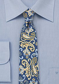 Italian Silk Paisley Tie in Blue and Yellow