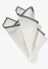 White Linen Pocket Square with Taupe Colored Border