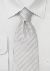 Bright White Striped Extra Long Tie