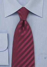Classic Burgundy Skinny Tie with Solid Colored Stripes