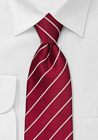 XL Cherry-Red Striped Necktie