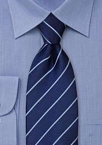Navy Light Blue Striped Tie in XL