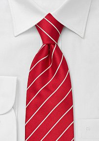 Bright Red and White Striped Tie in XL Length