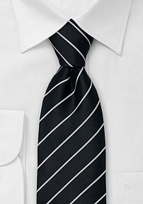 Black and Silver XL Length Tie