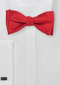 Solid Satin Red Self-Tied Bow Tie