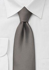 Solid XL Length Neck Tie in Taupe-Gray