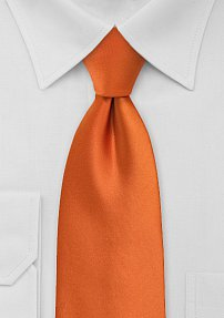 Extra Long Persimmon Orange Tie