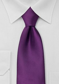 Solid Bright Purple Tie in Extra Long Length