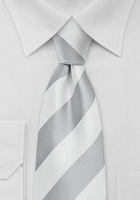 Boys Tie in Silver Gray and White