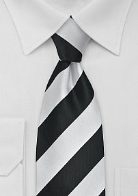 XXL Length Striped Tie Black Silver