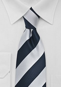 Extra Long Striped Tie in Navy and Silver