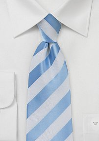 Mens Extra Long Tie Light Blue White