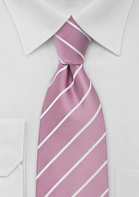 Pink and White Striped Neck Tie