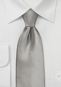 Elegant Solid Silver Tie in Extra Length