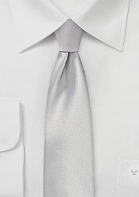 Narrow Skinny Tie in Light Silver