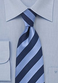 Extra Long Navy Tie with Stripes