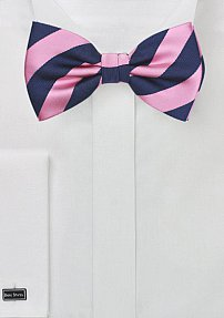 Navy and Rose Pink Striped Bowtie