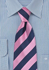 Navy and Rose Striped XL Tie