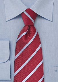 Striped Tie in Red and Grey